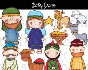 Baby Jesus PNG clipart can be used for scrapbooking, card making, and planner stickers for personal and small commercial use