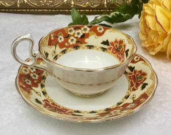 "1934 Royal Albert Crown China ""Hawthorne"" Teacup and saucer."