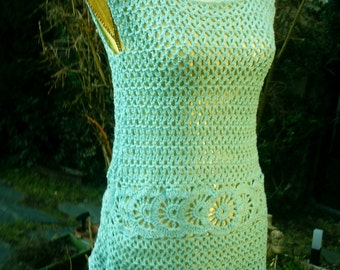 Bright blue, crochet tunic Gr. 36-38 (S M), with motif band
