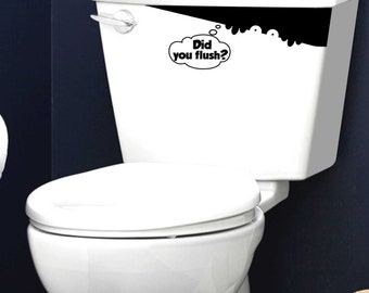 Did You Flush Toilet Spy Monster reminder vinyl decal sticker kids Toilet Wall Decal
