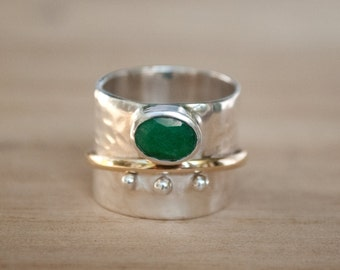 Emerald Ring * Meditation * Spinner * Spinning * Anxiety * Hammered * Worry * Boho * Spin * Thick Band * Sterling Silver * Bronze BJS032