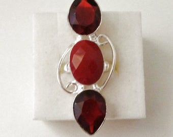 Silver Plated Coral and Garnet Gemstone Ring Size 8