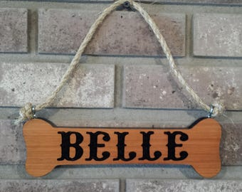 Personalized Dog Bone Sign - Custom Hand Routed Sign - Custom Dog Name Sign - Carved Wood Sign - Hand Carved Sign -Dog House Sign