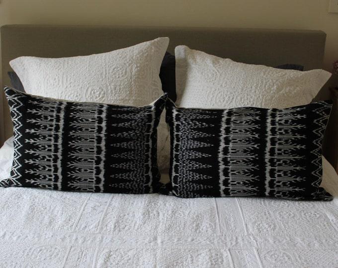 PAIR Fair Trade Black Ikat Back Strap Woven Textile + Natural Washed Eco Friendly Linen Cushions