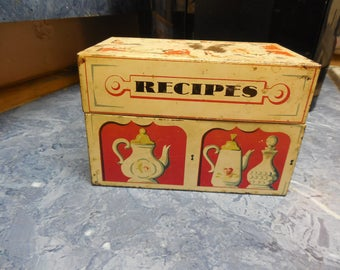 Vintage Recipe Box with 50+ Recipes