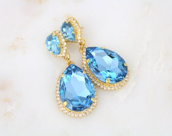 Gold Bridal earrings, Crystal earrings, Wedding jewelry, Turquoise earrings, Bridesmaid jewelry, Swarovski earrings, Statement earrings