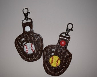 Ball and Glove Softball or Baseball Keychain