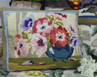 Vintage Petit Point Cushion/Embroidery Cushion/Needlepoint Cushion/Handmade Cushion/ Decorative Cushion (20C)
