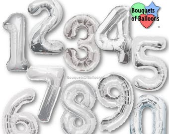 Big 34 Inch Silver Number Balloons - Any Number 0, 1, 2, 3, 4, 5, 6, 7, 8, 9, 10, 18, 21 - Birthday Age Balloons - Numbers - Number Balloons