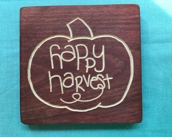 Happy Harvest | wood sign | Thanksgiving decor | fall decor | pumpkin | 8x8