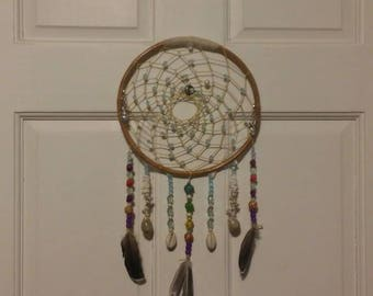 "Large Natural Bamboo ""Turquoise Seas"" Boho Style Dream Catcher Ideal for Home Decor or Mobile"