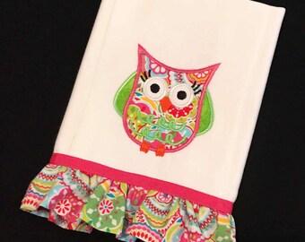 Baby girl applique owl burp cloth