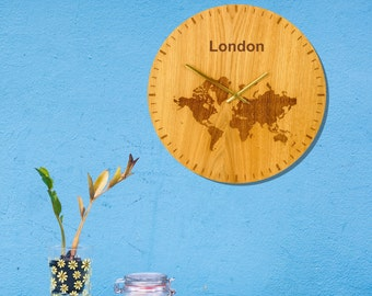 World Map Personalised Wall Clock Large Natural Oak Face 40cm Made in the UK