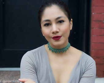 crochet necklace, beaded necklace, lace necklace, crochet jewelry