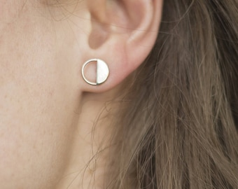 Handmade in France ecosilver recycled silver contemporary minimalistic graphic design industrial stud earrings.