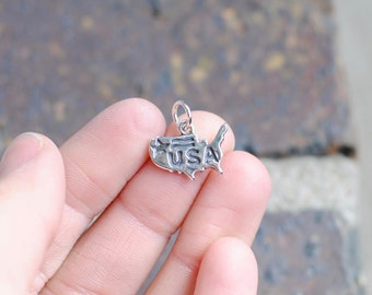Sterling Silver USA Charm / United States Charm / CHM025