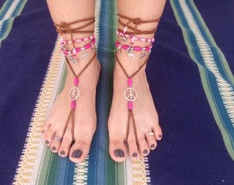 Barefoot sandals, boho, hippie, pink, tibetan silver, jewelry barefoot, jewelry belly dancing, tribal, elephant