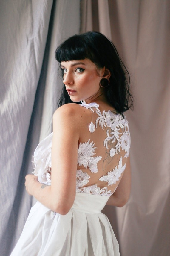 Wedding dress top bridal separates lace halter top like this item junglespirit Choice Image