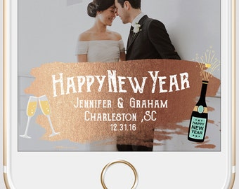 New Years Wedding Snapchat Geofilter | Rose Gold Paint & Gold Confetti Custom Personalized Geofilter | Party Filter | Birthday Geofilter