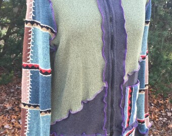 SouthWest diagonal Patchwork recycled/upcycled sweater