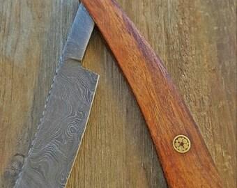 Custom Mens Shaver - HRC Damascus Straight Razor Blade Knife