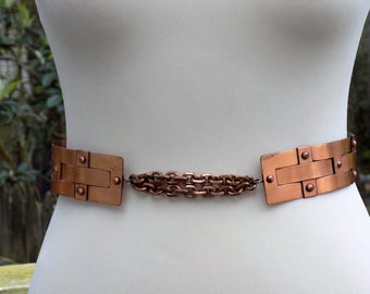 Vintage Retro Mid-Century Mod 50's 60's Renoir Wide Copper Statement Belt Small