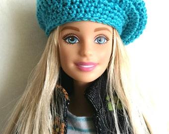 Turquoise blue Barbie doll beret, hat for Barbie-like dolls