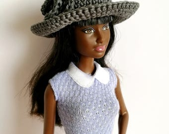 Gray Barbie doll cloche hat with flower, fashion doll hat, clothes