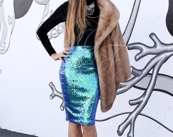 Sequin Pencil Skirt - High Waist Midi Length - Iridescent