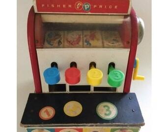 Vintage Fisher Price Toy Cash Register Wooden Toy Ringing Bell Cash Drawer 1960's