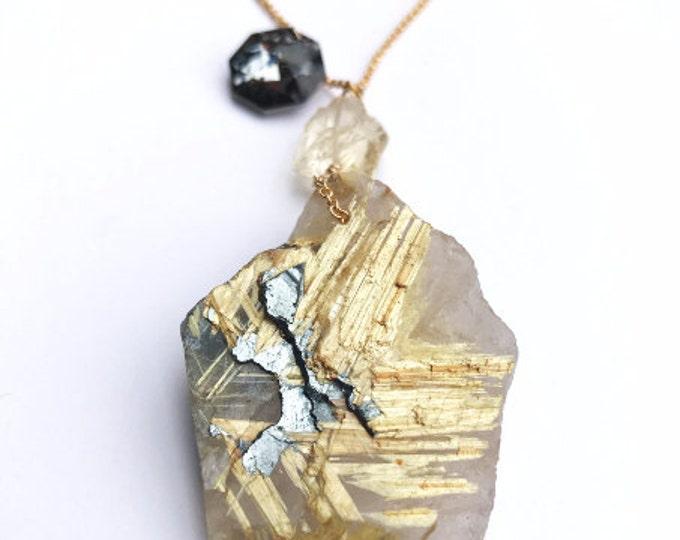 Stunning Raw Rutilated Golden Star Quartz Crystal & Hematite Necklace, 14 Karat Gold, Energy and Chakra Healing