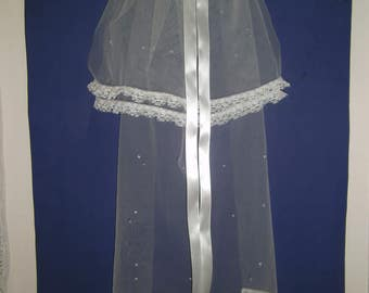 First Communion Veil, Sparkling Tear Drop 3 tier,Lace,Pearls,Sequins,Satin & Streamers