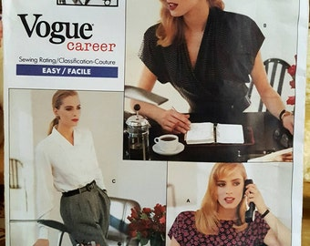Vogue 2069 Designer Anne Klein Misses Career Jacket and Blouse Sizes 18-22 Uncut FF Sewing Pattern ReTrO!