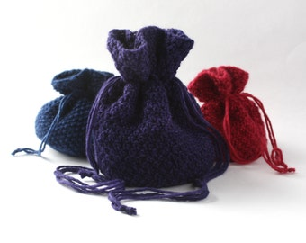 Big Knitted Pouch / Purse / Drawstring Bag