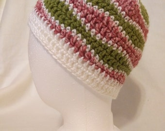 Green and Pink Smooth Wave Beanie