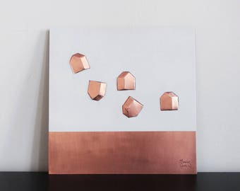HOME DREAMS #2 - Engraved copper panels with 5 homes and a white horizontal band, crafted using the ancient technique