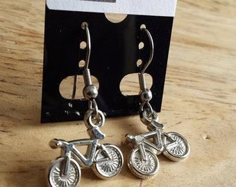 Bicycle bike Silver Earring / Earring silver color bicycle