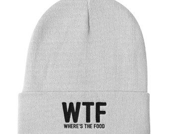 WTF Where Is The Food Beanie | Food Beanie | WTF Hat | Hungry Hat | Sunday Hat | Funny Hat | Pizza Beanie | Tacos Hat | Food Hat | Food