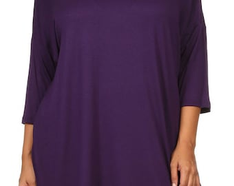 Solid Relaxed Tunic Plus Eggplant