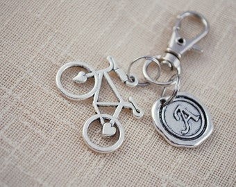 Bicycle keychain, FREE SHIPPING, personalized keychain, custom bike keychain,  gift for friend, low price keyring, cycling accessories