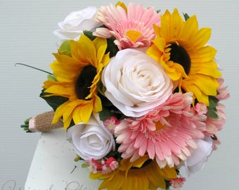 Wedding bouquet, Sunflower bouquet, Fall bouquet, Bridal bouquet, Silk wedding bouquet, Autumn wedding flowers
