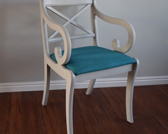 Teal Chair, Accent Chair, Living Room Chair, Teal Furniture, Upholstered chair, Unique chair, Whimsical, French Chair, Living Room Chairs
