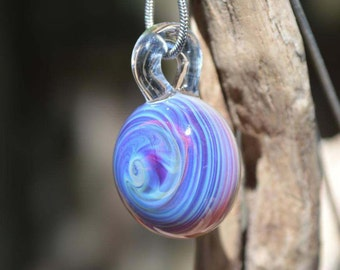 Hand Blown Glass Pendant - Round Necklace Charm - Triple Passion Spiral
