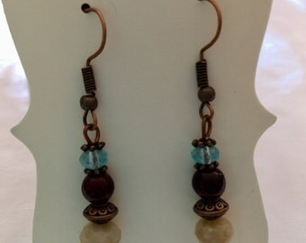 Gemstone Earrings Copper Earwire Boho Style FREE Shipping in US