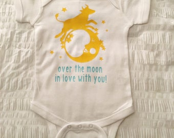 Over The Moon In Love With You Baby Bodysuit, Baby Creeper, Cow Jumping Over The Moon