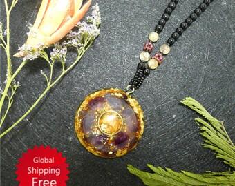 Sahasrara Chakra jewelry/ Amethyst Orgone Pendant /energy pendants/orgone energy/energy healing /orgone jewelry / gift for her / EMF healing