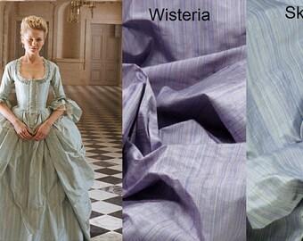Custom Made Marie Antoinette 18th Century Sky Blue Silk Stripe Gown