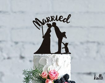 Wedding Cake Topper with Cat - Wedding Cake Topper- Customizable Wedding Cake Topper- Cat Cake Topper for Wedding- wedding Gift