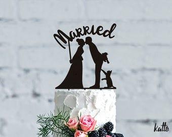 Wedding Cake Topper with Cat - Wedding Cake Topper- Customizable Wedding Cake Topper- Cat Cake Topper for Wedding- wedding Gift