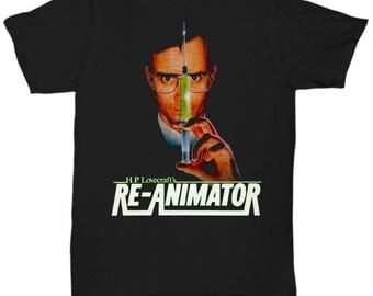 Re-animator H. P. Lovecraft 1985 Rare Vintage Horror Movie Classic 80's shirt Tee T-shirt  S - 5XL  Black v3